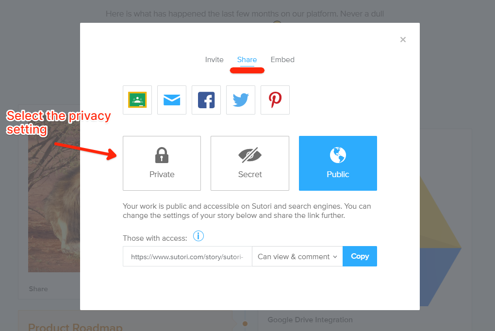 You can share your work via google classroom, email, social media or simply share the link. You can even embed your story into another website!