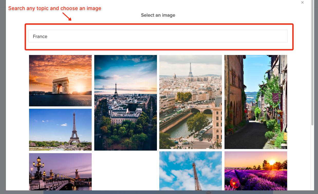 Search for an image through Unsplash on Sutori