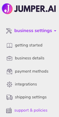 business settings->support & policies