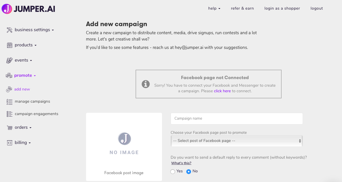 add new campaign (promote)