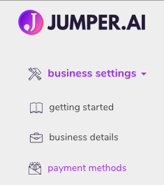 business settings->payment methods