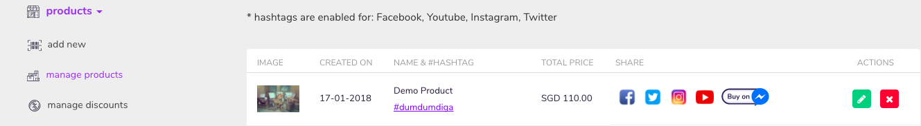 products->manage products->instagram share