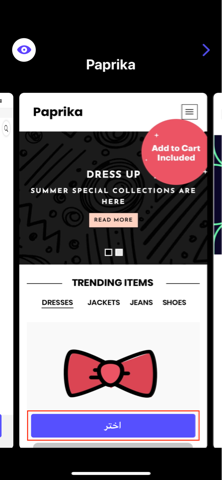 اختيار واجهة المتجر