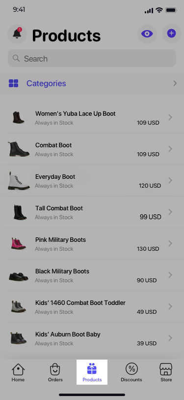 Navigate to the products tab