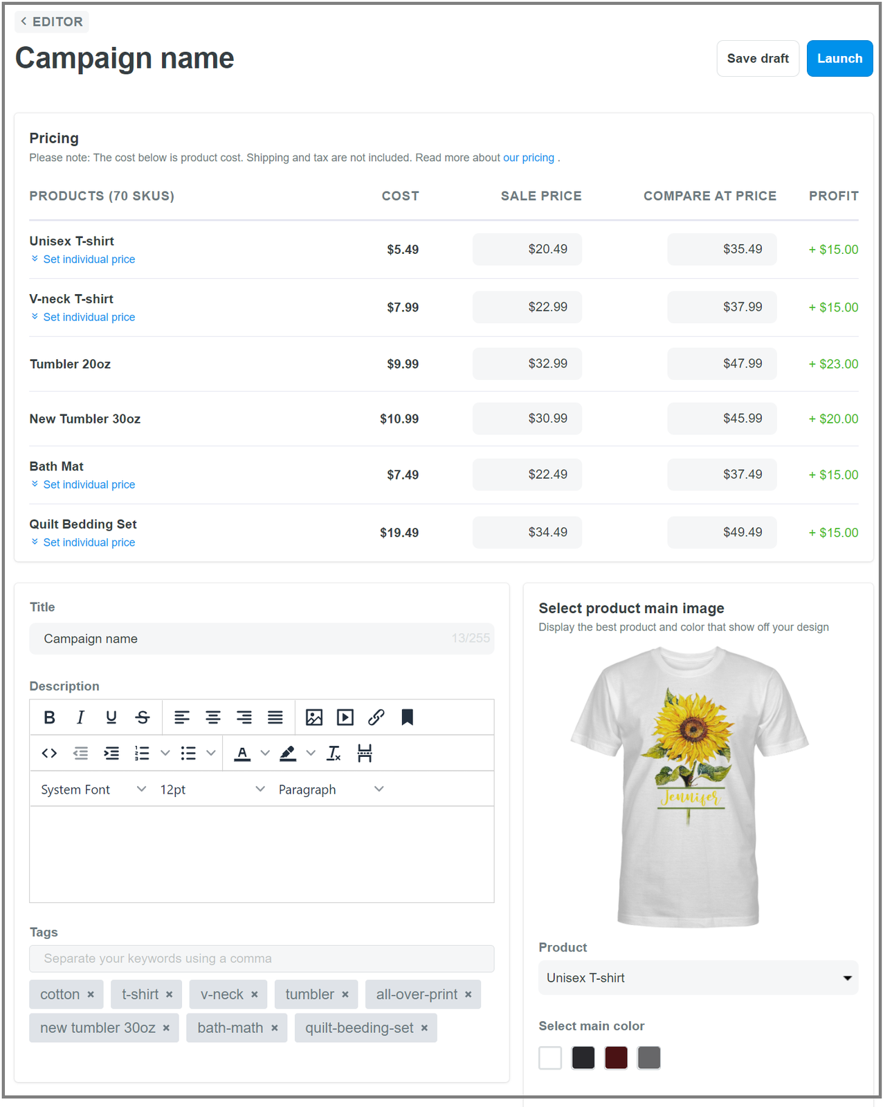 Page where you can edit price, title, description and product tags
