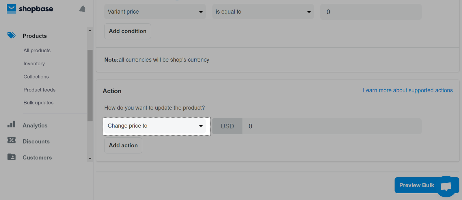 Click on the drop-down menu to choose the bulk update action you want