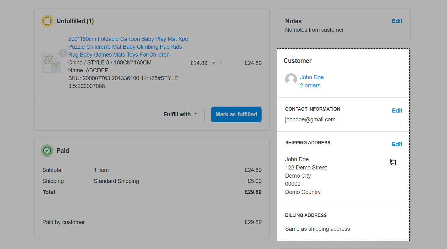 Upload a screenshot of customer information in your order
