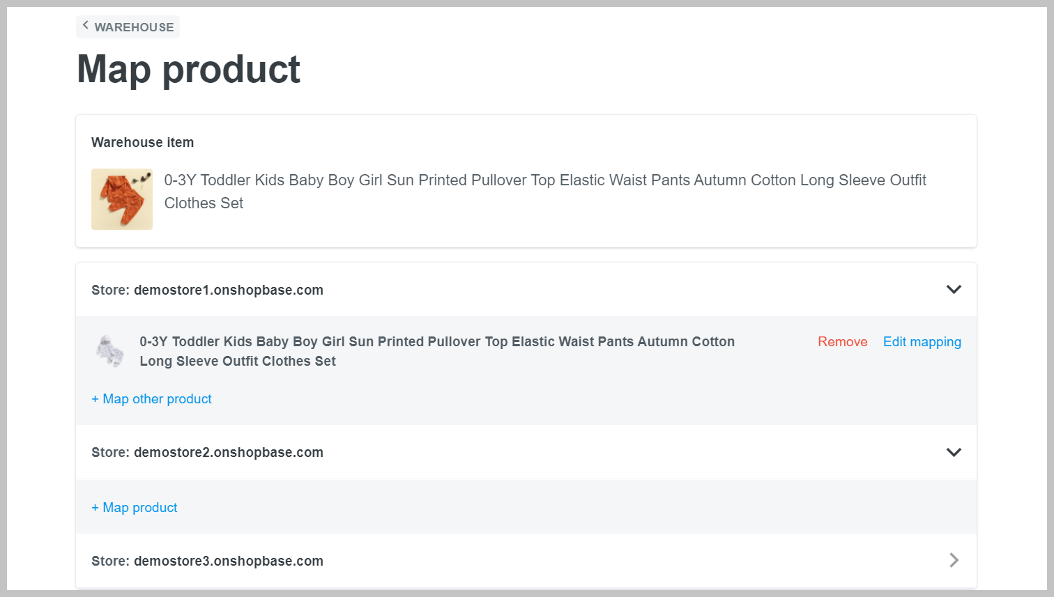 Product mapping page