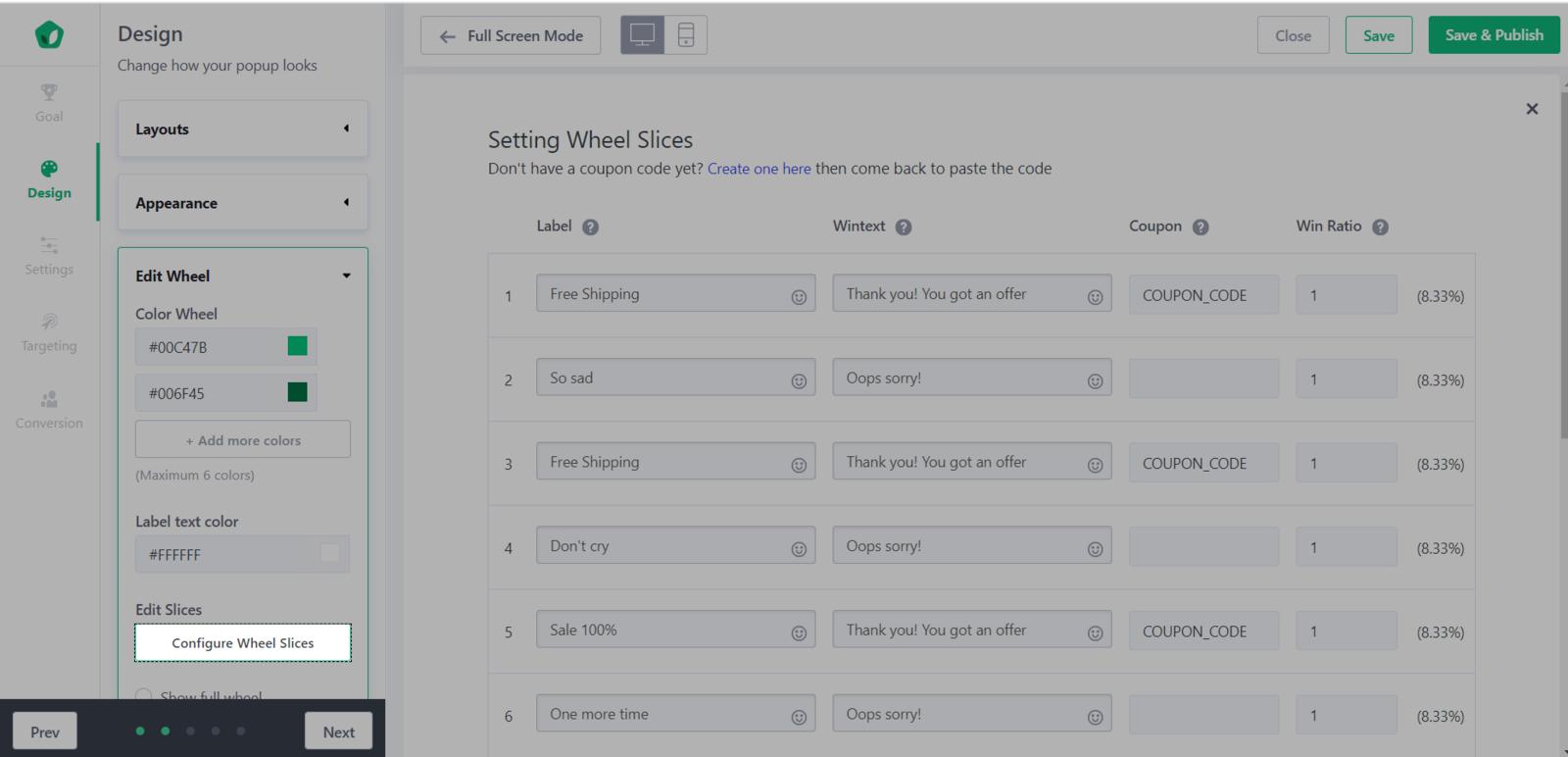 单击Configure Wheel Slices,以将折扣代码添加到Win Wheel