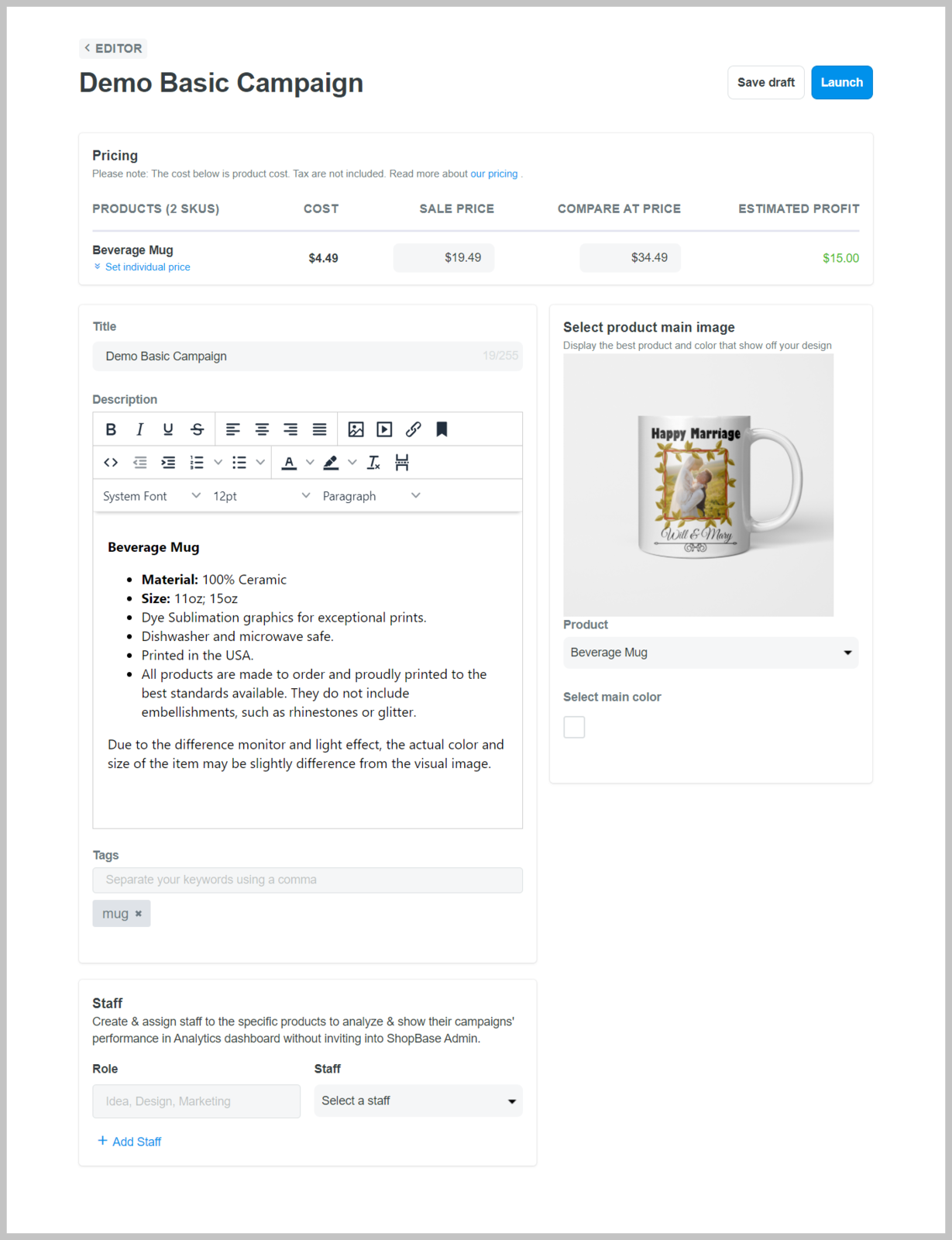 您可以在此处编辑产品的价格、标题、描述和标签