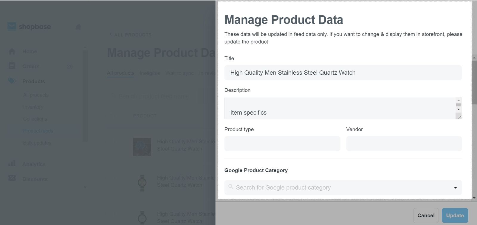 A popup window will appear if you click on each product where you can edit product information and click Update