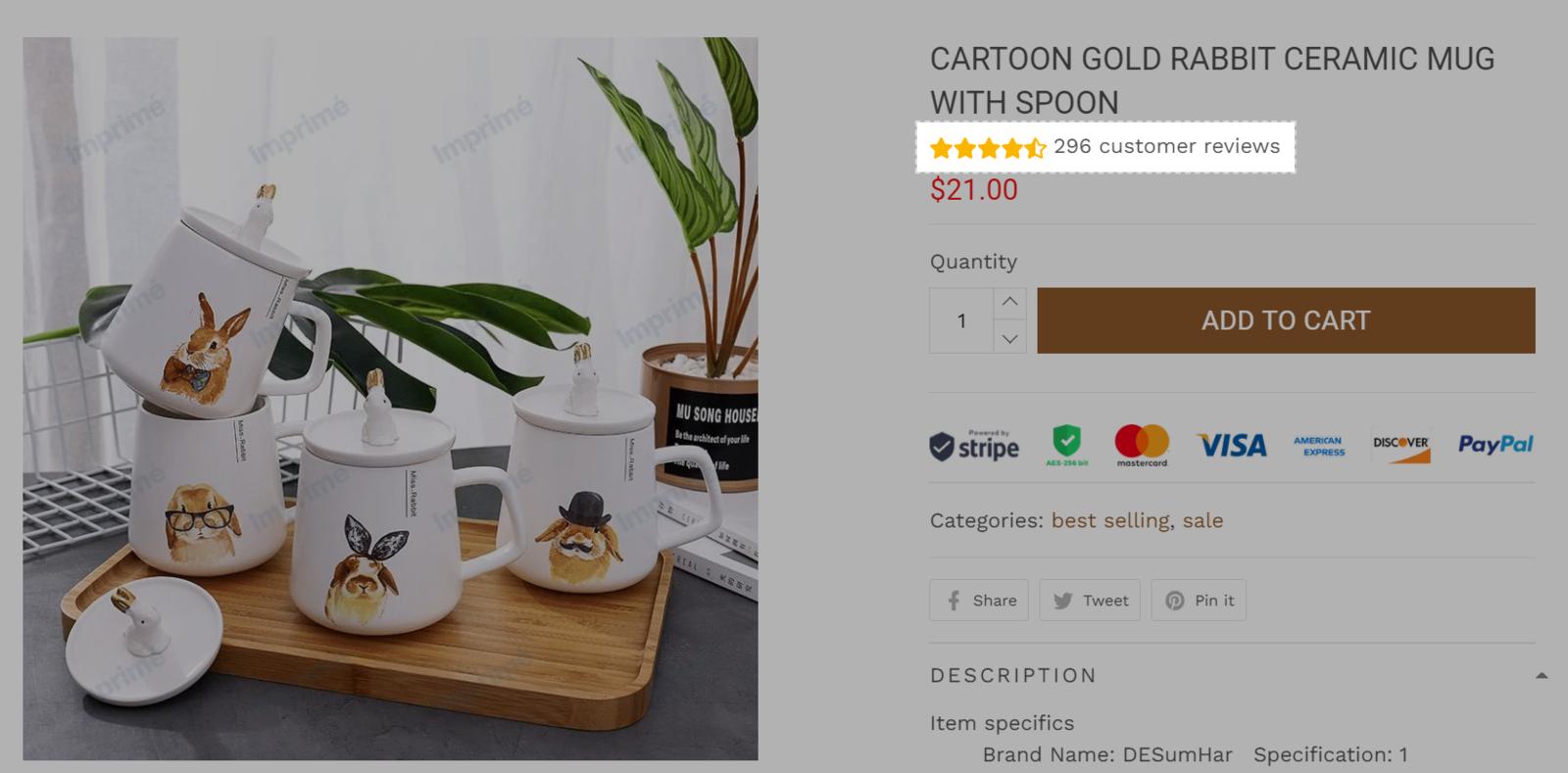 Đánh giá sẽ hiển thị dưới tên sản phẩm như trong ảnh trên