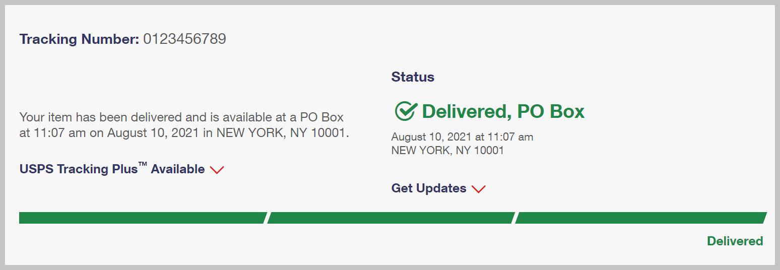 然后该网站将显示有关订单和/或交货凭证的实时信息。