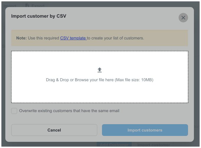 Overwrite existing customers that have the same email