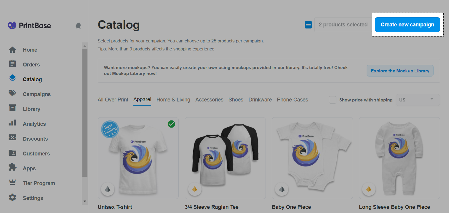 "PrintBase界面:选择产品,然后单击""Create new campaign"""