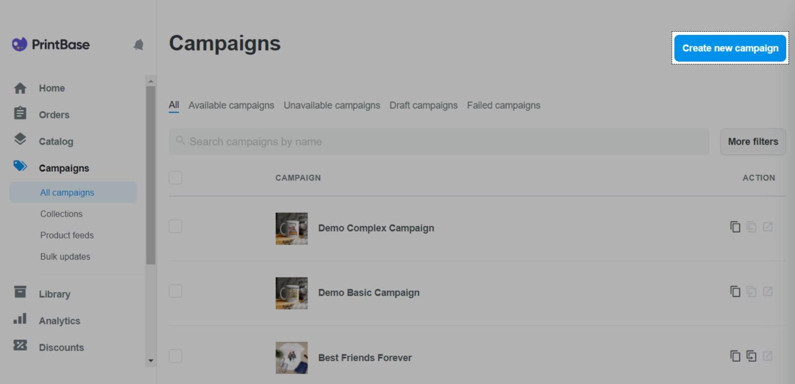 使用PrintBase在Campaigns部分中创建POD产品