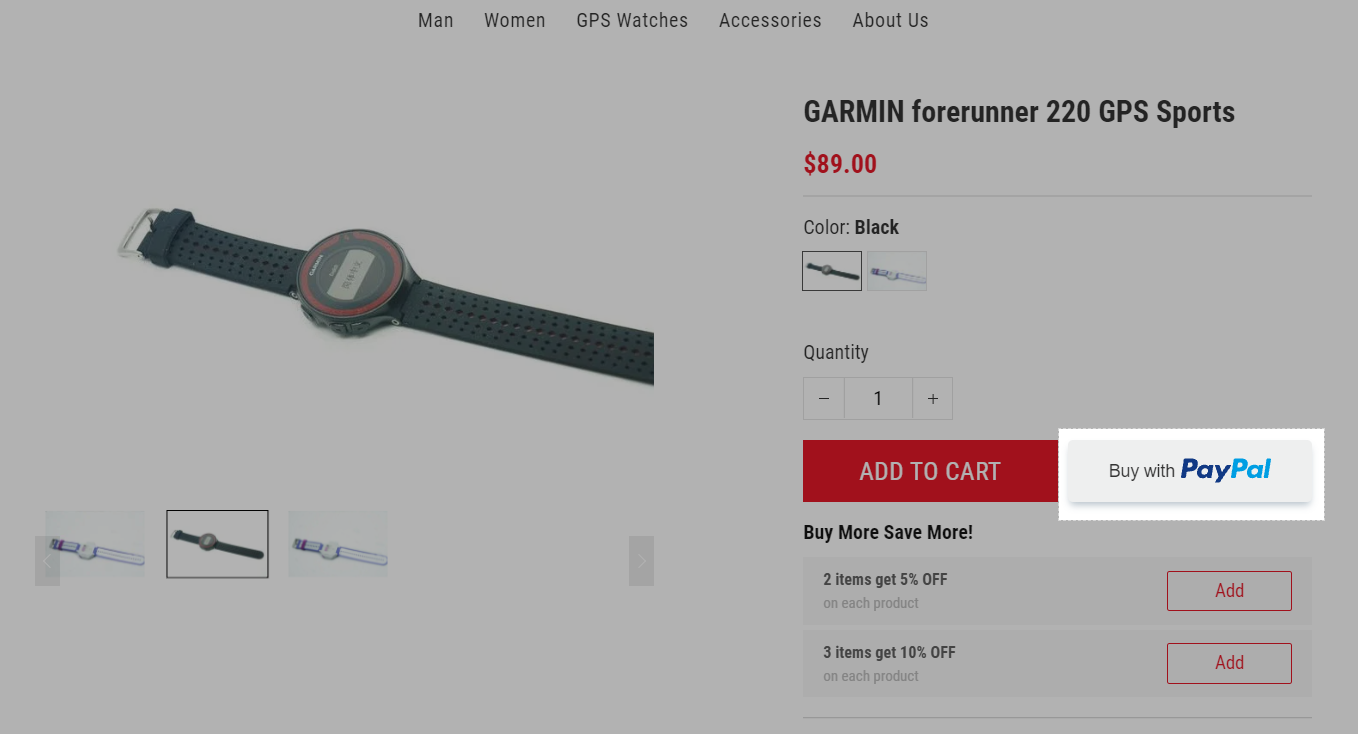 This is how the dynamic checkout button looks like on your store's product page