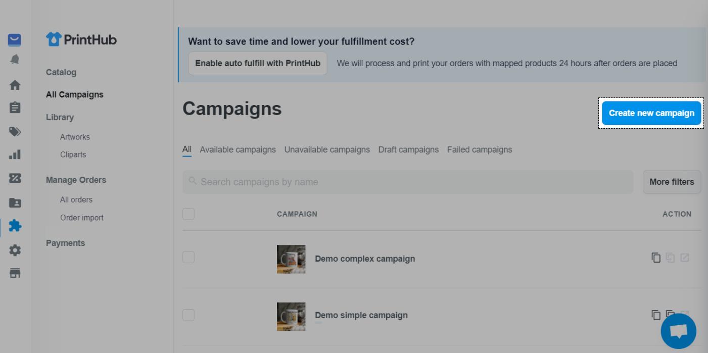 使用Print Hub在All Campaigns部分中创建POD产品