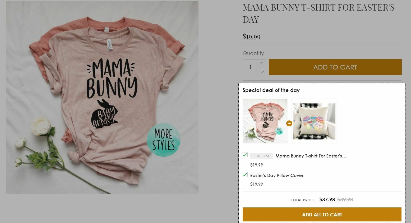 Bundles offer is a form of sale that encourages customers to buy products related to the main product. ShopBase allows sellers to apply this method by displaying products group related to the main product just below the Add to cart button on the product page as below.
