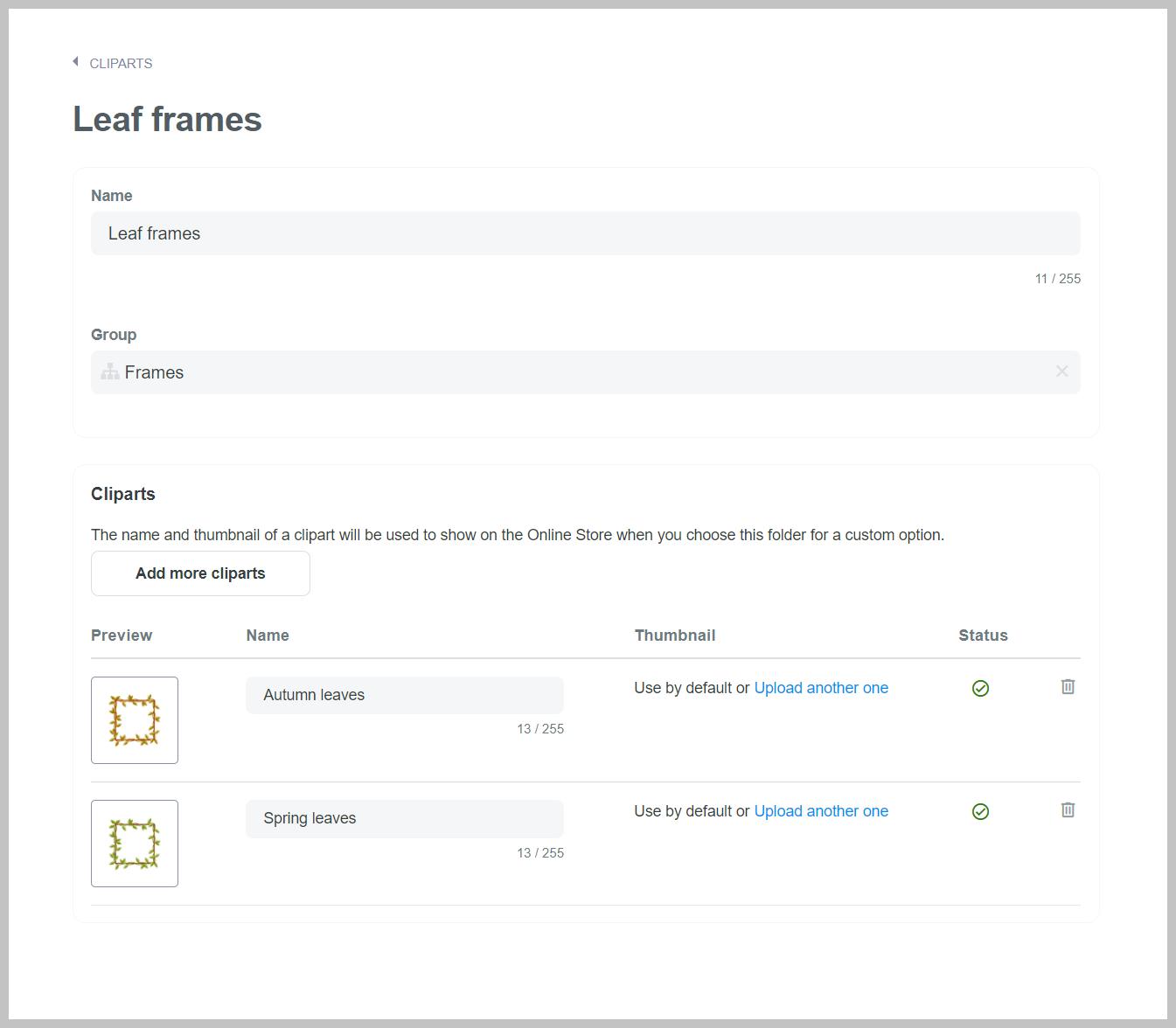 Settings for Leaf frames clipart folder