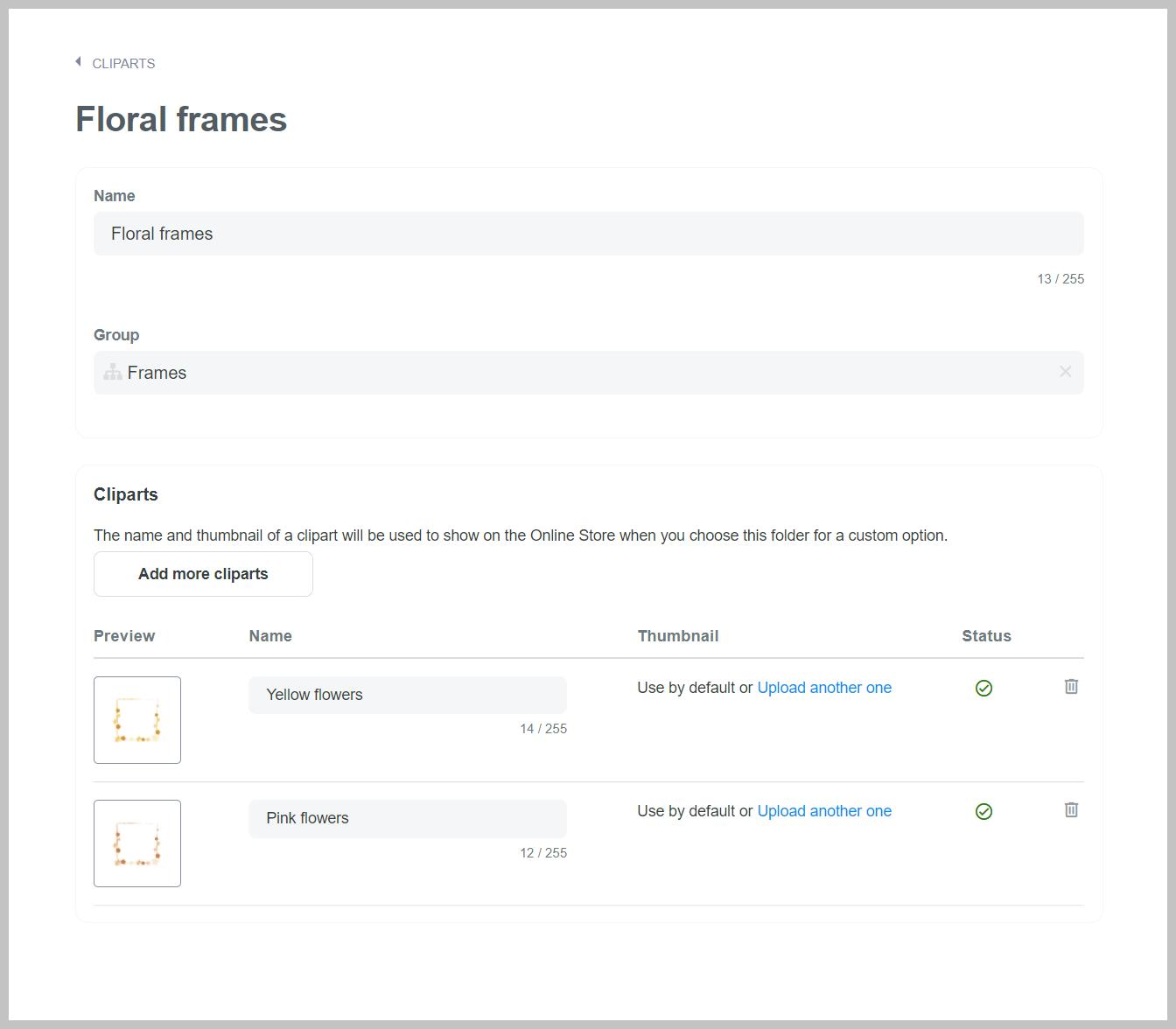 Settings for Floral frames clipart folder