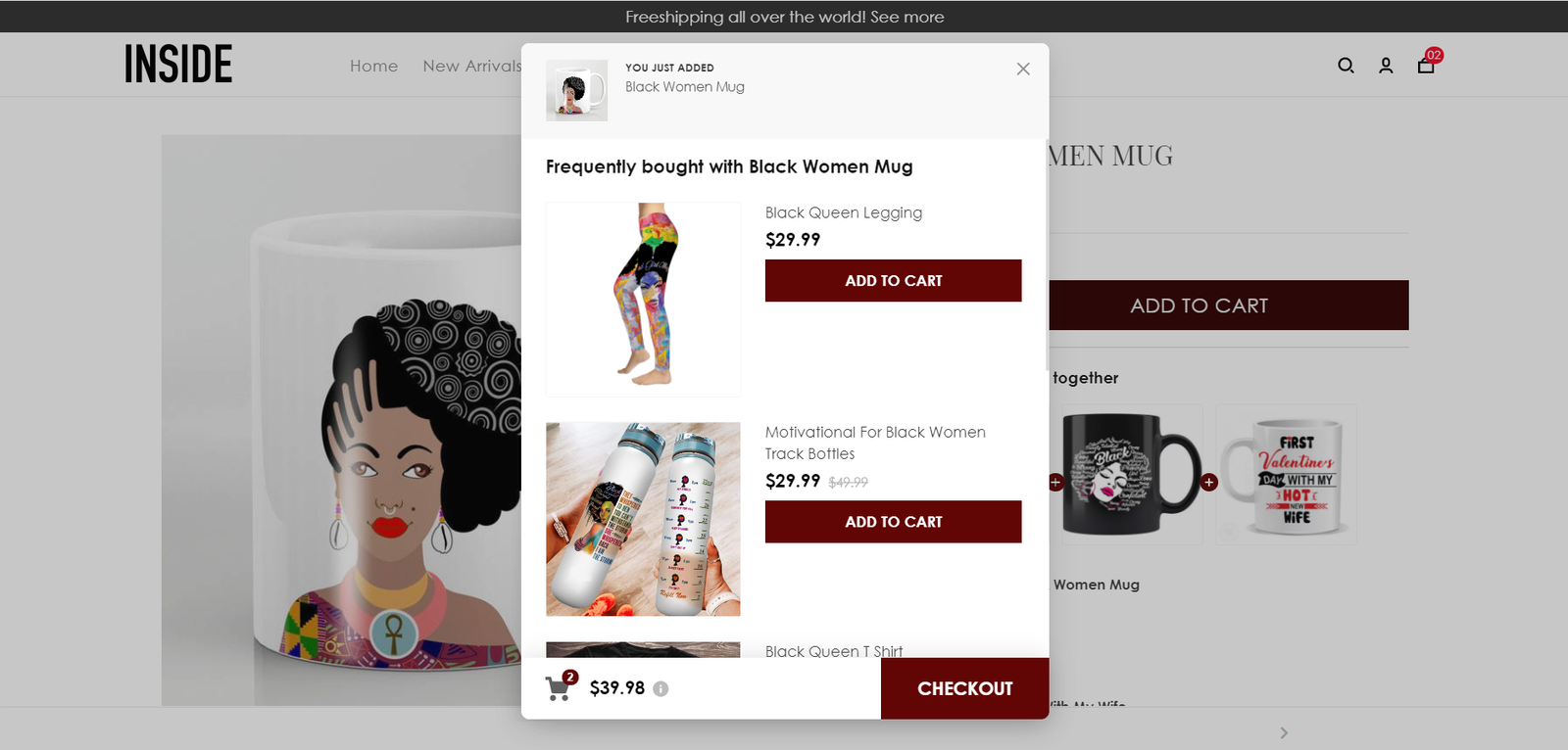 Pre-purchase will recommend other products to customers as soon as the customer clicks the Add To Cart button. Recommended products will help encourage customers to add more products to their shopping cart.