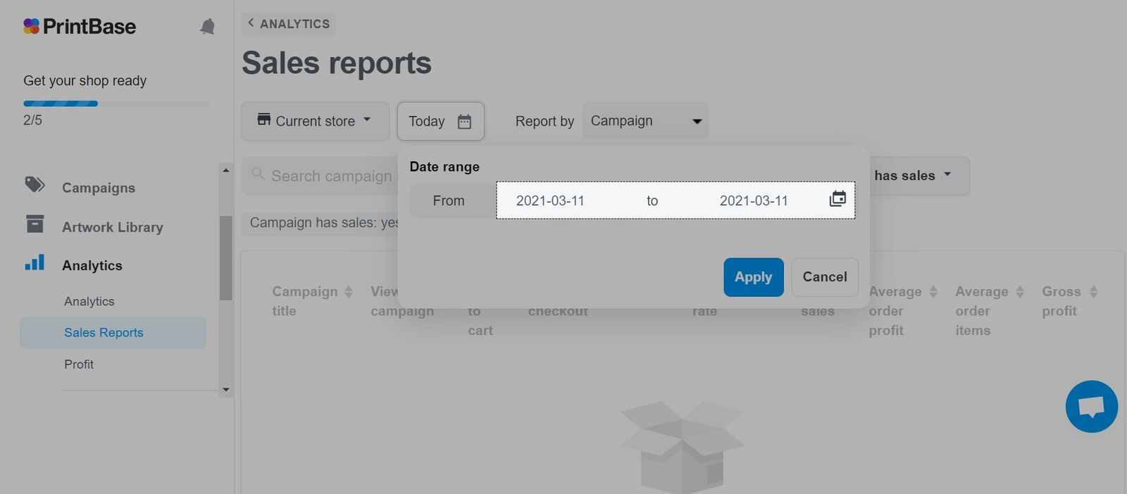 单击日期以更改显示报告的时间段