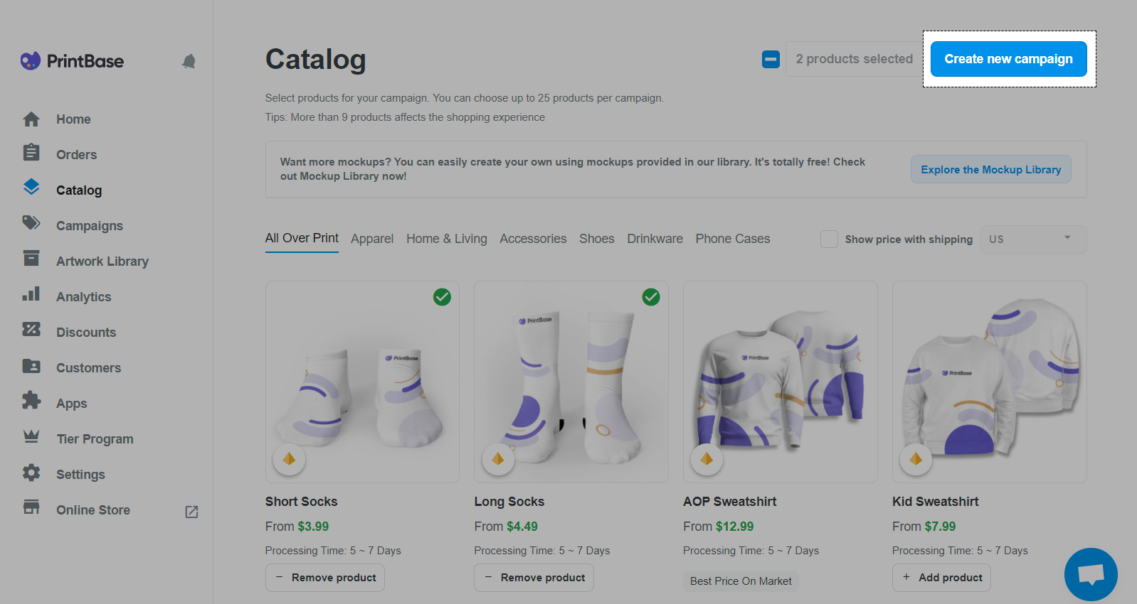 PrintBase interface: choose the product and click Create new campaign