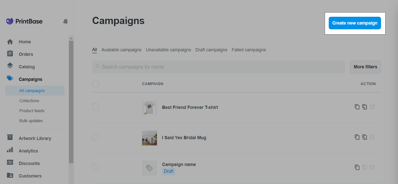 Create a campaign on Campaigns with PrintBase
