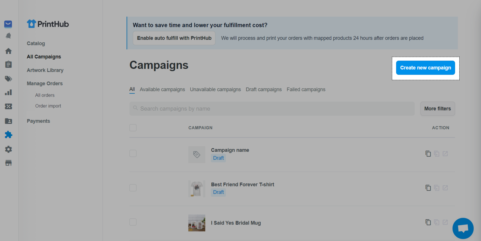 Create a campaign on All Campaigns with Print Hub