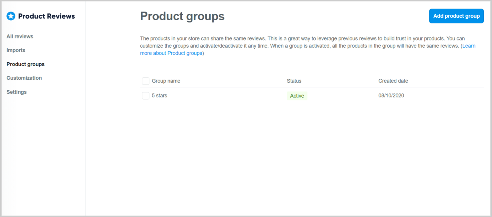 To group your reviews, click Add new product group