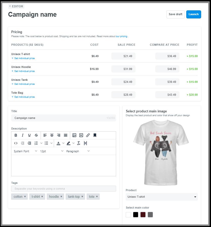 您可以编辑产品价格、标题、描述和标签的页面