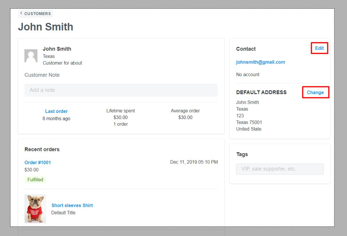 Edit customer's email & address