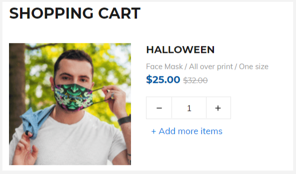 The system does not display any product suggestions when a face mask is added to cart.