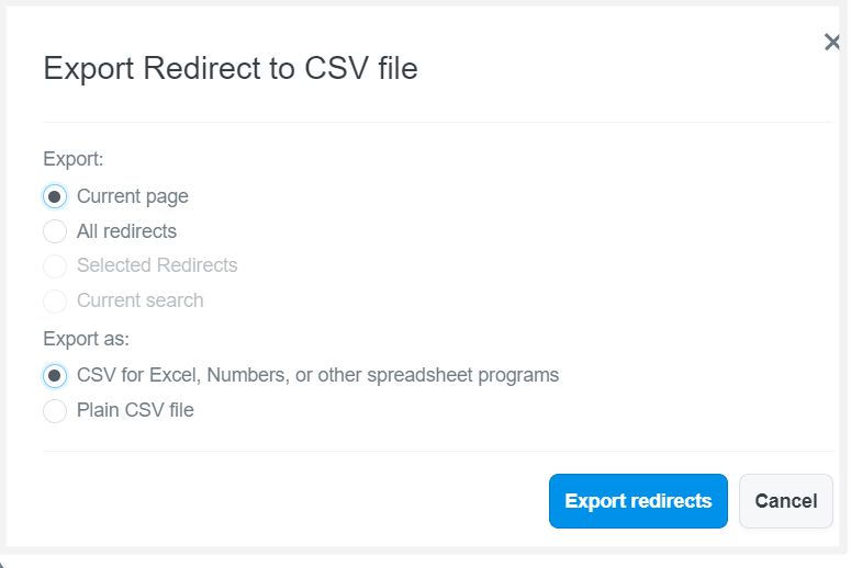 Select the redirects and type of CSV file you want to export