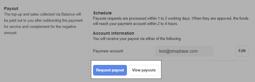 Request Payout section