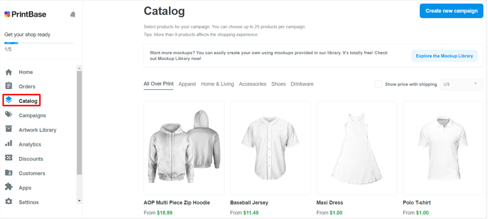 Here is the interface of catalog.