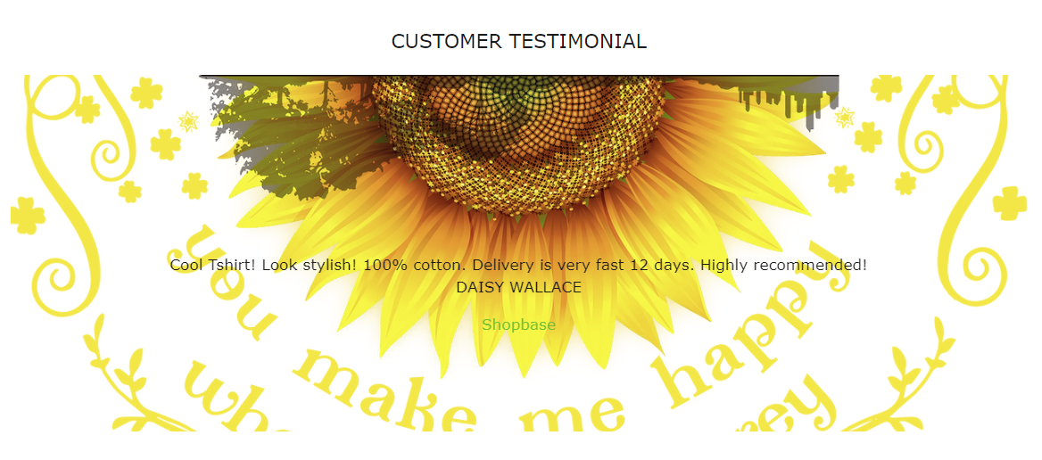 How testimonial background image looks like in your storefront