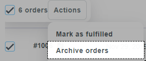 Archive multiple orders on All orders page