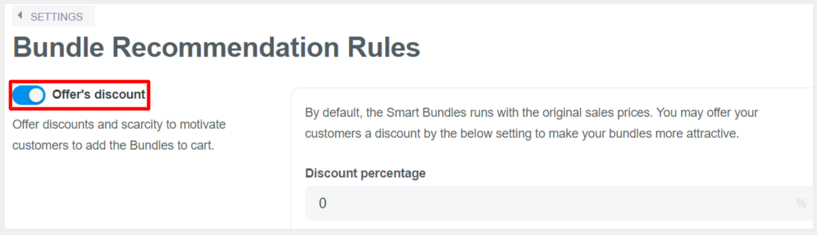 You can customize the offer discount in Discount percentage field