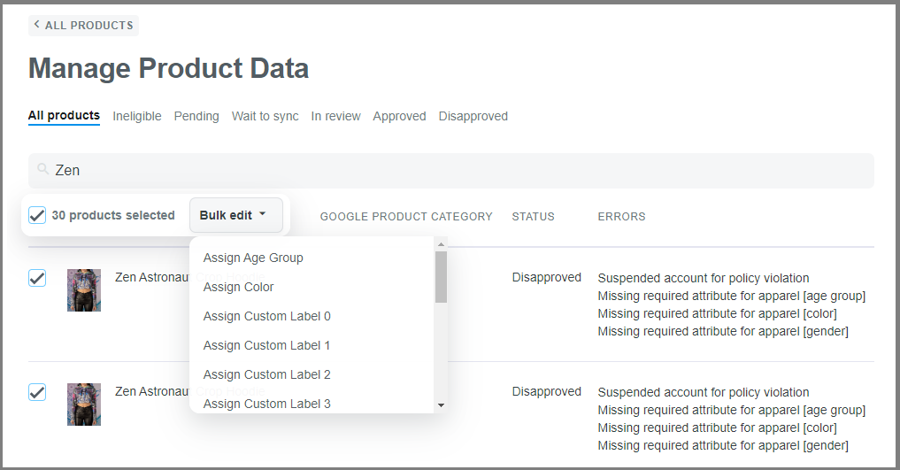 You can choose multiple products and click Bulk Edit