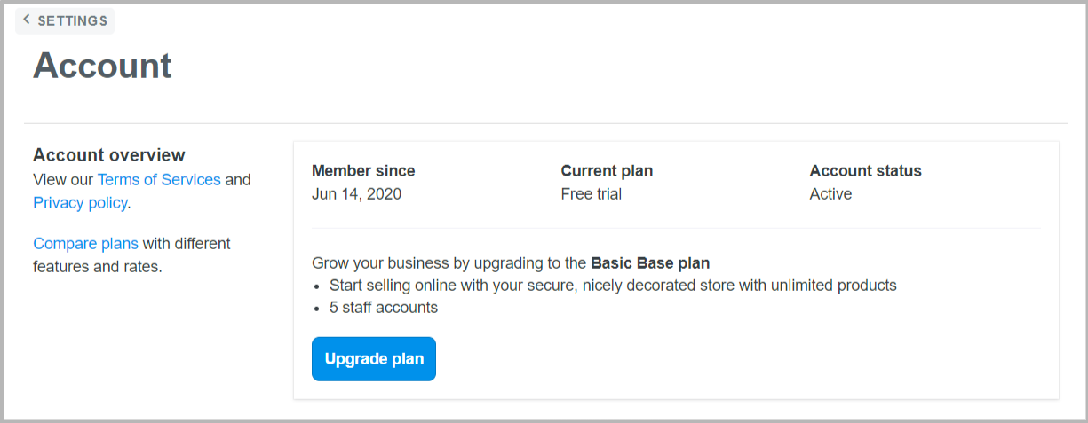 Start your upgrade plan by clicking on blue button...