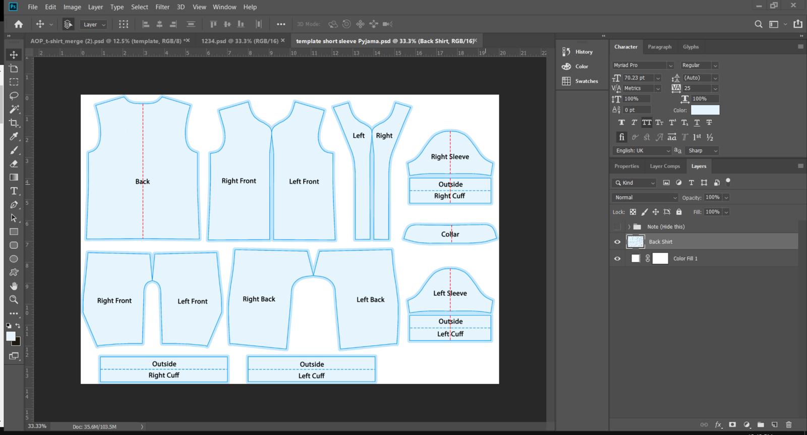 Example of multi-piece template
