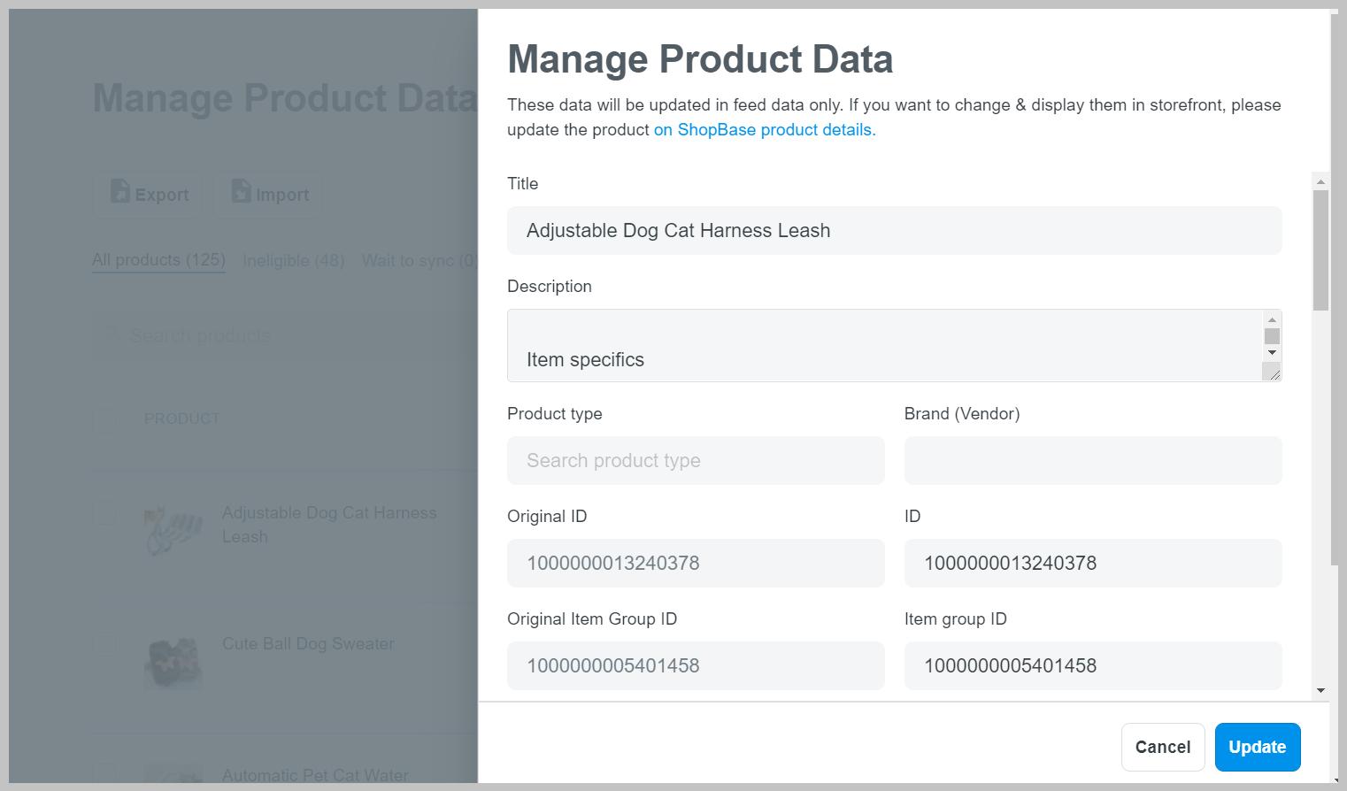 """Một cửa sổ popup sẽ xuất hiện nếu bạn nhấp vào từng sản phẩm, tại đó bạn có thể chỉnh sửa thông tin sản phẩm và nhấp vào nút """"Update""""."""