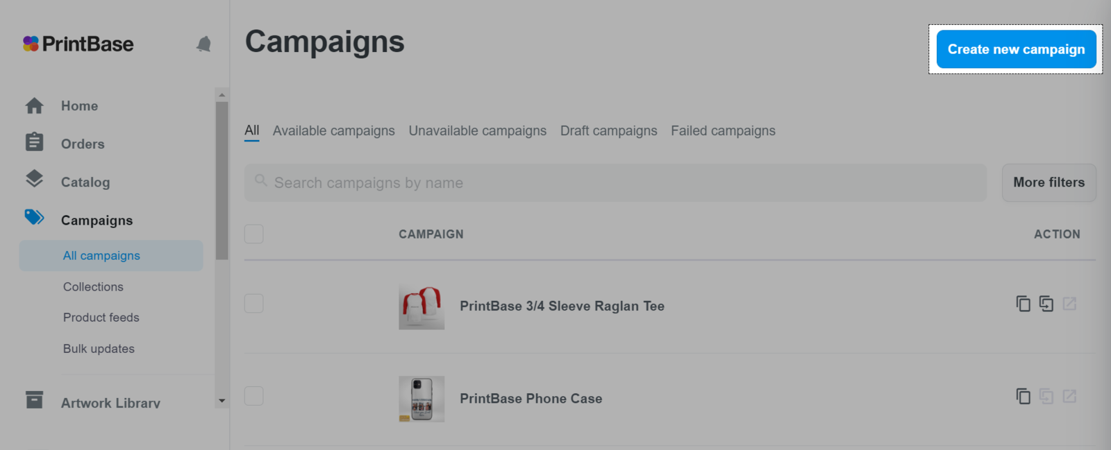 Create a campaign on Campaigns với PrintBase