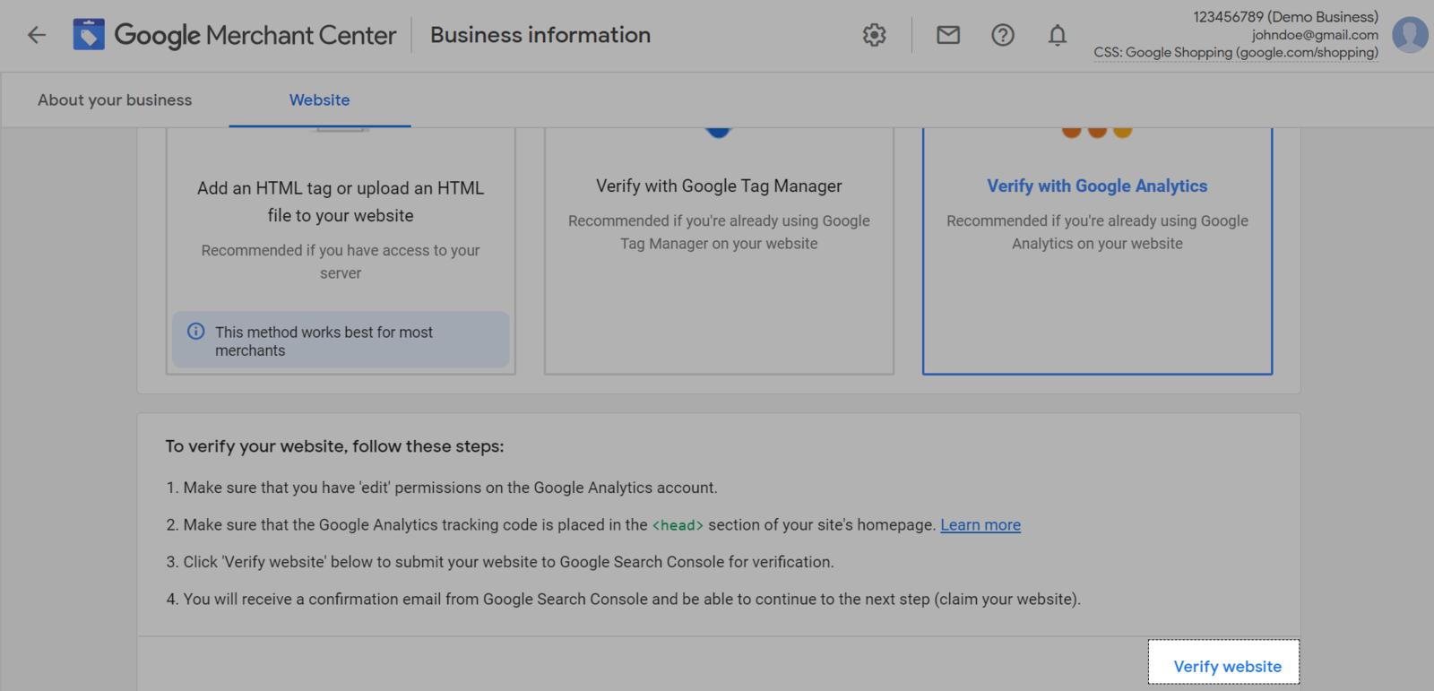 Bấm Verify website để xác nhận