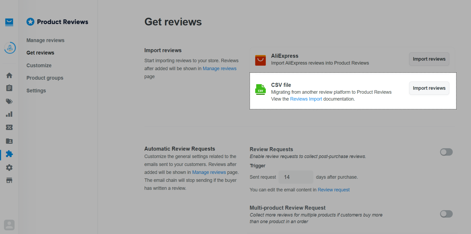 Choose import reviews by CSV files
