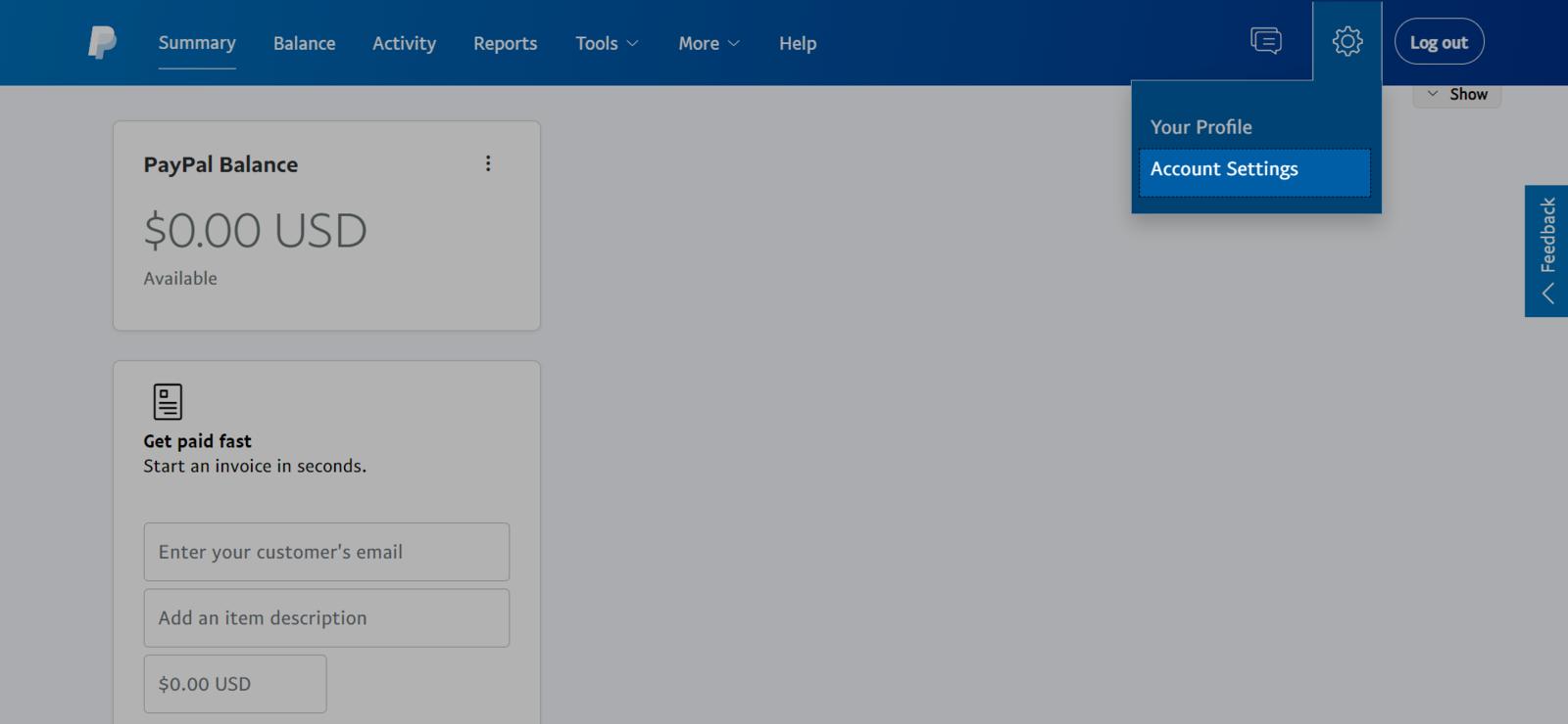Nhấn vào biểu tượng bánh xe bên góc phải và nhấn vào Account Settings