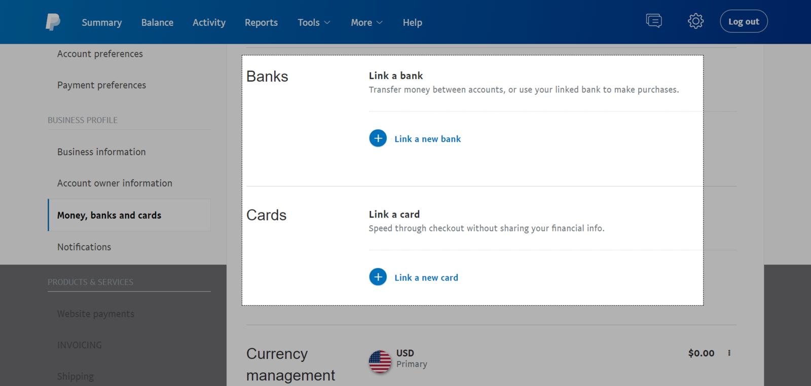 Nhấn vào Link a new bank để thêm tài khoản ngân hàng và Link a new card để thêm thẻ ghi nợ hoặc thẻ tín dụng
