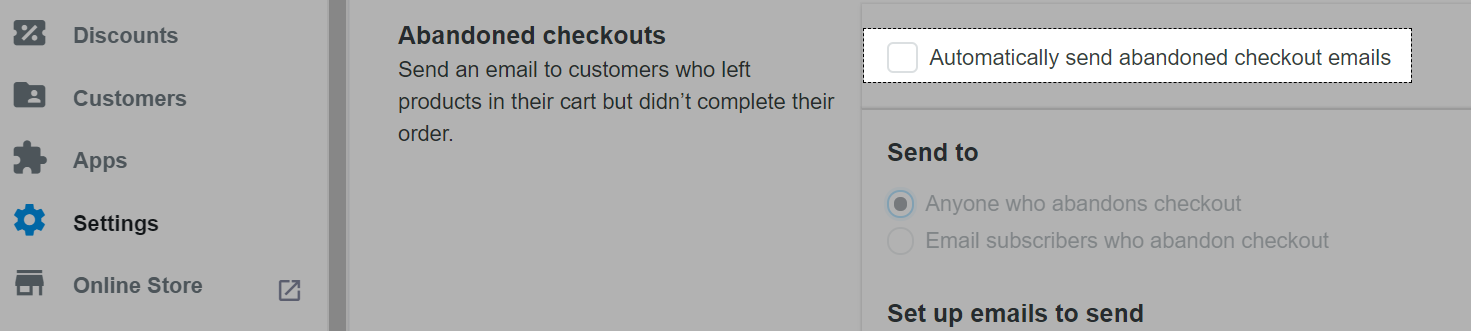 Automatically send abandoned checkout emails